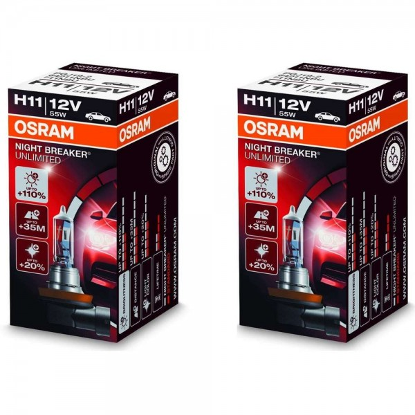 Osram H11 Night Breaker® Unlimited +110% 2 Stück Duo Box